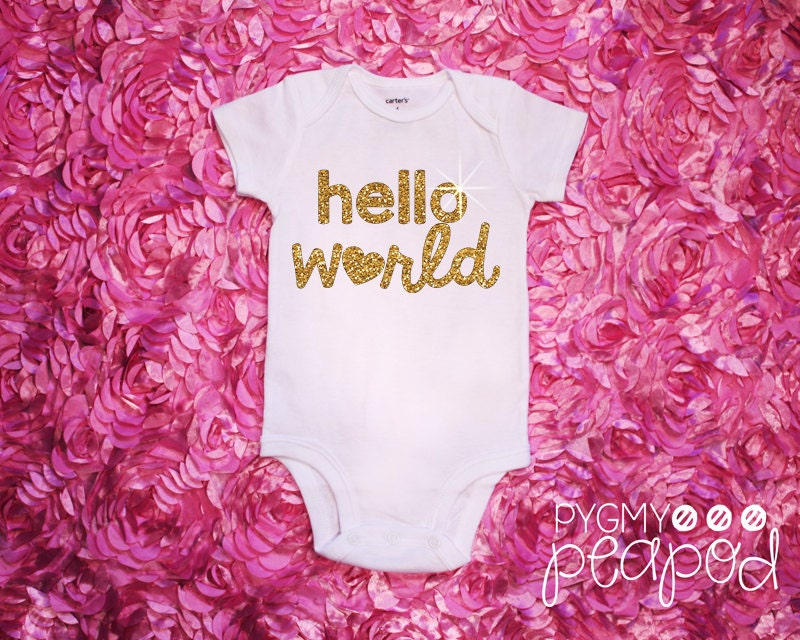Glitter Birth Announcement Hello World Newborn