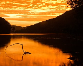 Orange Sunrise Print, Hudson River, Upstate New York, Sunrise Photography, Nature Photography, Fine Art Photography, Picture of Sunrise