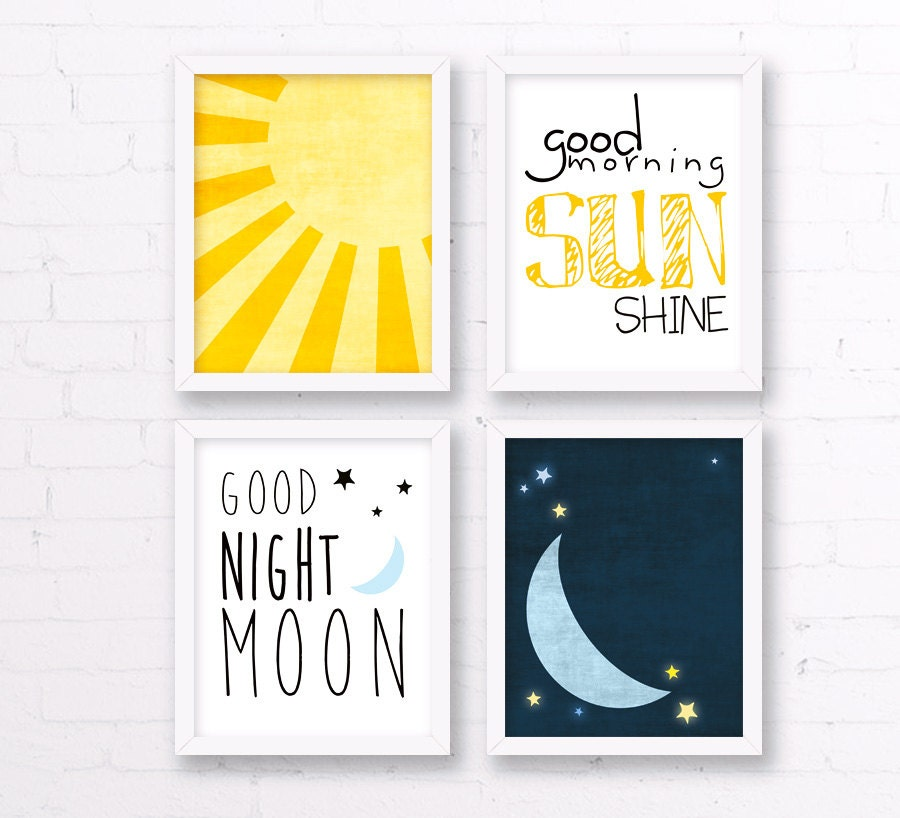 sun and moon nursery decor yellow and blue good morning. Black Bedroom Furniture Sets. Home Design Ideas