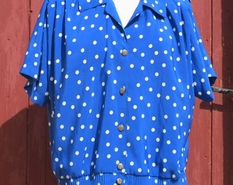 SALE Electric Blue Polka Dot 1980s vintage shirt