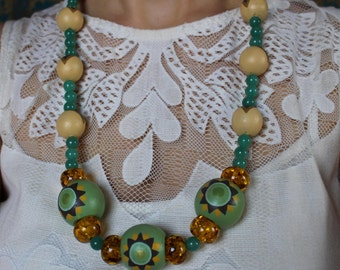 Hand Painted Folk Necklace