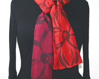 Red Silk Scarf. Burgundy Hand Painted Silk Shawl. Hand Dyed Scarf FLOWER MEADOW. Size 8x54. Birthday, Bridesmaid, Anniversary Gift.