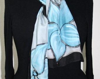 Grey Silk Scarf. Black Hand Painted Silk Shawl. Handmade Silk Scarf Scarf CRYSTAL FLOWERS. 8x54 Birthday, Bridesmaid Gift. Gift-Wrapped