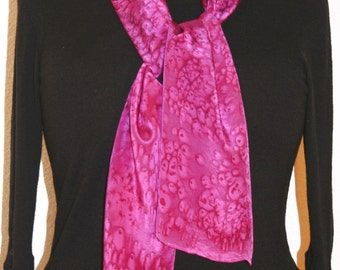Silk Scarf Handpainted. Pink, Fuchsia Hand Painted Shawl Handmade FUCHSIA SUNSET. 11x60. Anniversary, Mother Gift. Gift-Wrapped