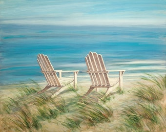 Beach greeting card, beach art, nautical, coastal, shabby shic, adirondack chairs, from original oil painting by Tina O'Brien