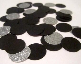 Black and Silver Confetti, Graduation Confetti, Black and Silver Party Decor, Silver Confetti, Black Confetti, Silver Party Decorations,