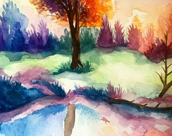 "Custom handmade ""9X12"" original nature watercolor. Made to order"