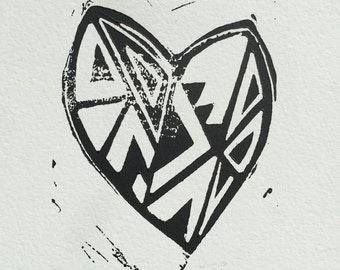 Linocut Wild Heart 04