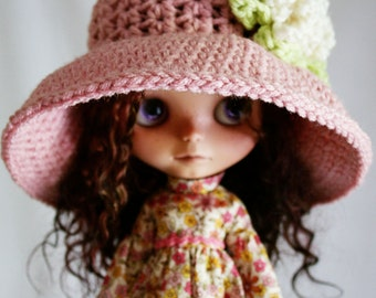 Blythe Doll Hat - Wide Brim Floppy Sunhat - Crochet Hat - Dusty Rose with Pastel Flower
