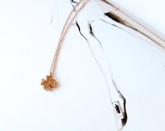 4 Leaf Clover Necklace 18K Rose Gold Charm Necklace Pendant Necklace Simlpe Everyday Necklace