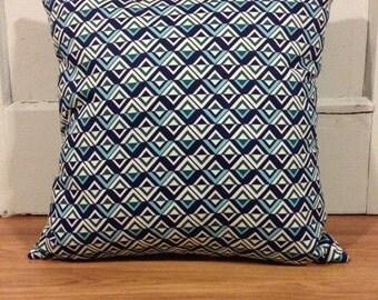 18x18 Blue Geometric Pillow Cover