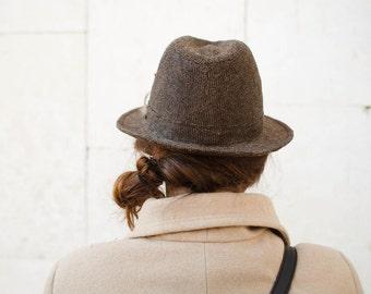 Tweed Vintage Fedora Men Hat 1980s