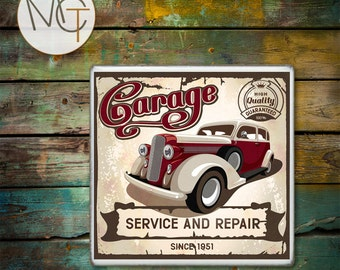 Old Car Coasters, Vintage Car Bar Coaster(s), Garage Service and Repair, Price Is For ONE Coaster, Drink Coasters, Hot and Cold Drinks