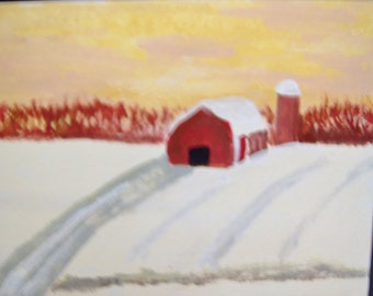 barn on winter morning