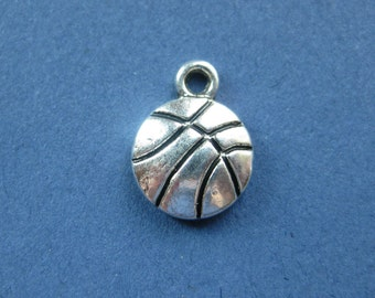 10 Basketball Charms - Basketball Pendants - Sports Charm - Ball Charm - Antique Silver - 14mm x 11mm -- (I1-10281)
