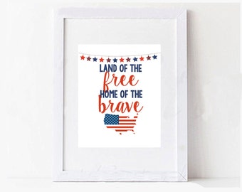 Fourth of July / Memorial Day Digital Printable USA Typography Art