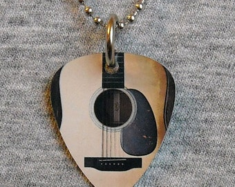 Metal Guitar Pick Necklace ACOUSTIC GUITAR six string guitarist player musician music pendant charm 2-sided
