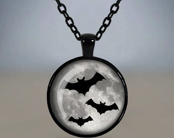 Three Flying Bats Gothic Pendant Necklace Glass Cameo Cabochon Tile Necklace Jewellery