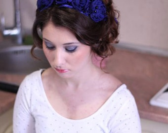Crown with large blue flowers handmade chiffon.
