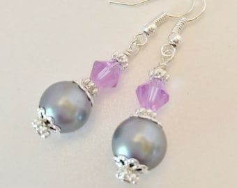 Grey Pearl Earrings Bridesmaid Gift Mother of the Bride Gift Wedding Jewelry Purple Crystal Earrings Jewelry Set Crystal Jewelry