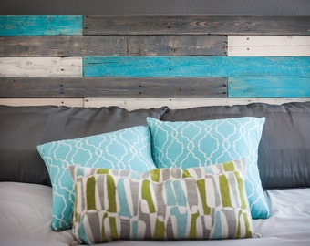Wooden Headboard with Turquoise Accents