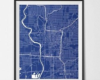Indianapolis Indiana State Map Art Print, Indy University Butler University Art Print Dorm Decor Indianapolis City Map of Indianapolis Art