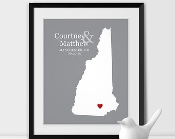 New Hampshire State Art Map Print, Wedding Map of New Hampshire Personalized Couples Gift Wedding Location New Hampshire Gift - Any STATE