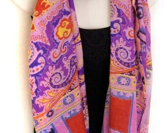 Cashmere Scarf Pashmina Shawl,Paisley Purple Pink Red Stole, Long Scarf, Women's Accessory,Pure Wool Wrap  Indian Pashmina wool,Lightweight