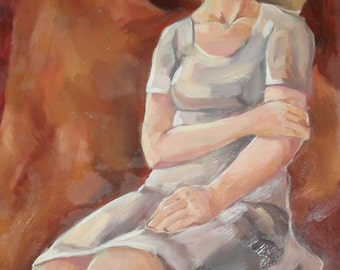 Vintage oil painting impressionist portrait
