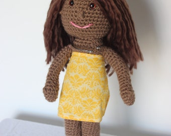 Crochet Doll with Brown Hair Brown Eyes
