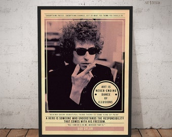 Bob Dylan Poster - Quote Retro Music Poster - Music Print, Wall Art