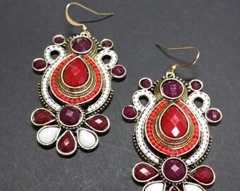 Crimson Scroll Earrings