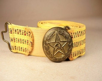 Officer Parade Belt - Vintage Military Buckle - USSR Uniform
