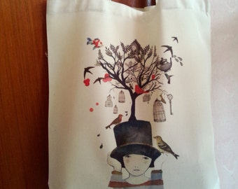 Pretty Girl Tree Hat Tote Bag, Reusable Shopper Bag, Cotton Tote, Shopping Bag, Reusable Grocery Bag, Market Bags Gift