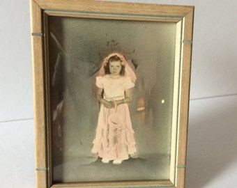 Hand colored photo of First Communicant