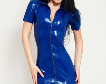 Latex Dress with Front Full-Length Zipper. Short Sleeves Dress. Fetish, Shiny Dress.