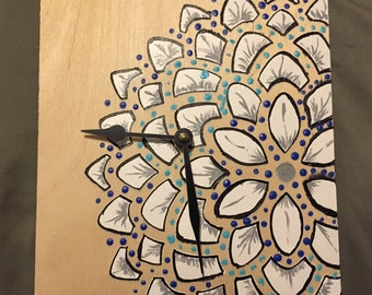 Wall Clock - Hand Painted Flower Woodend Clock