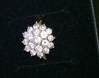 A 9ct Gold Cubic Zirconia Ring 19 CZ Yellow Gold