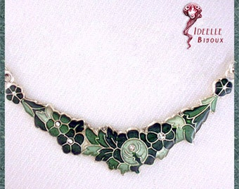 Flowers green necklace, spring, strass, crystal Swarovski