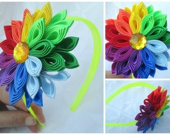 Flower Headband rainbow,Tsumami kanzashi flower headband,Kanzashi Flower,Flower Headband ,bow headband,women headband,girl flower headband