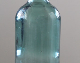 Short Cyan Chemical Bottle - late 1800s