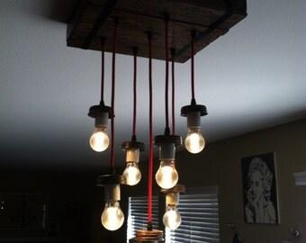 Mason jar chandelier.