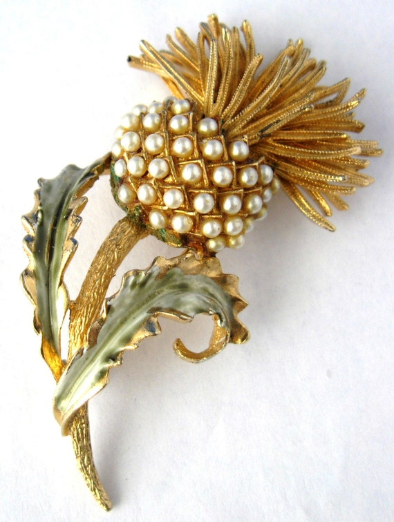 Coro Pearl Thistle Brooch Pin 1960s Gold Green Enamel Large
