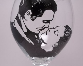 Gone With The Wind, Hand painted glass, painted wine glass