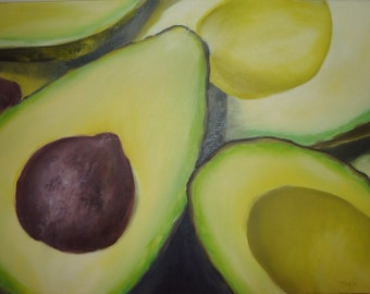 Original Avocado Oil Painting on Canvas - Hand Painted - Ready to Hang