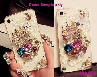 1 Set  Deco Kit Alloy Castle Gems Rhinestones Accessories Cabochon Deco Den on Craft Cell Phone Case DIY Deco kit DD3394