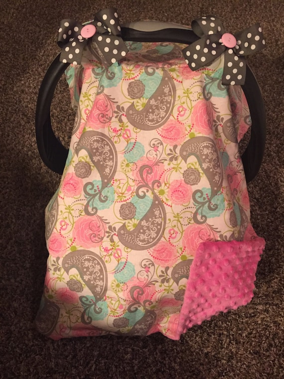 pink paisley car seat cover with polka dot bows backed with. Black Bedroom Furniture Sets. Home Design Ideas