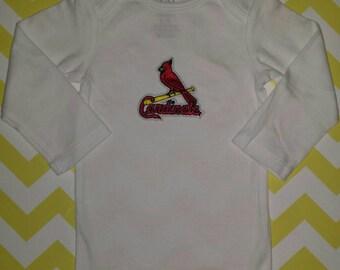 St Louis Cardinals Baby Onesie, Embroidered MLB Logo, Cardinals MLB Baby Onesie
