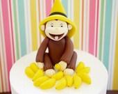 Curious George Cake Topper. Fodant Curious George Cake Topper. Fondant monkey cake topper. Fondant bananas. Handcraft fondant topper