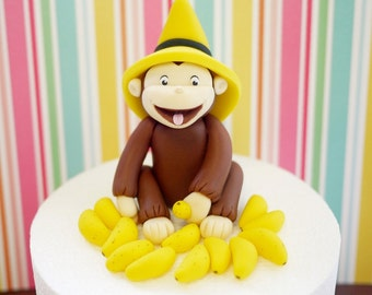 Curious George Cake Topper. Fodant Curious George Cake Topper. Fondant monkey cake topper. Fondant bananas.
